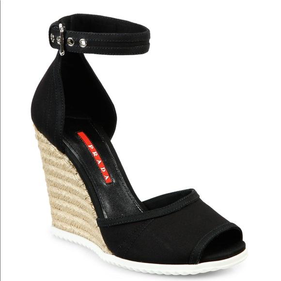 Black Canvas Espadrille Wedge Sandals